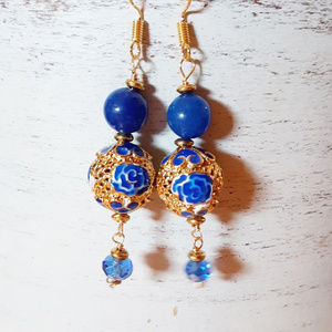 NEW! Blue + Gold Cloisonne Style Drop Earrings